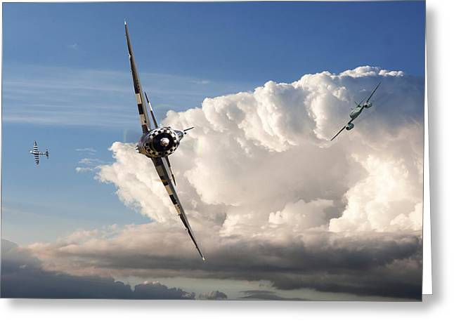 Me262 Greeting Cards - P47 - Me262 The Perched advantage Greeting Card by Pat Speirs