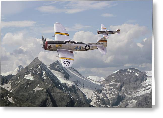 Fighter Aircraft Greeting Cards - P47 Thunderbolt - 57th FG Greeting Card by Pat Speirs