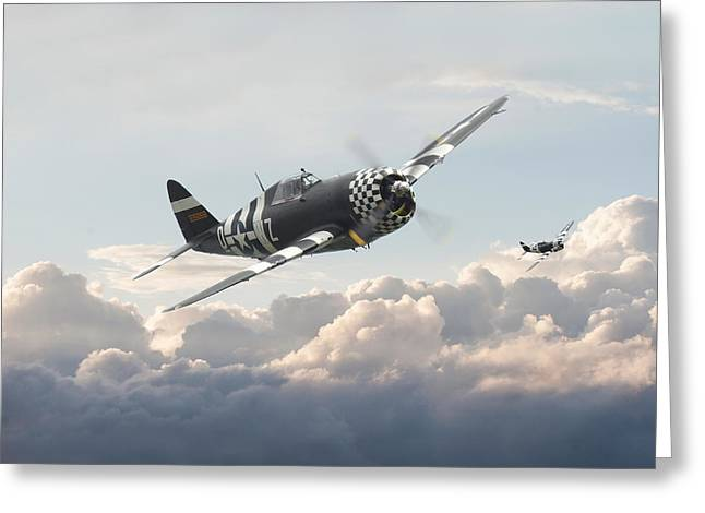 Fighter Aircraft Greeting Cards - P47 G - Thunderbolt Greeting Card by Pat Speirs