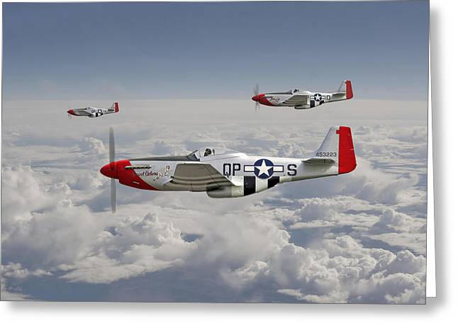 4th Digital Art Greeting Cards - P51 - 334th Fighting Eagles Greeting Card by Pat Speirs