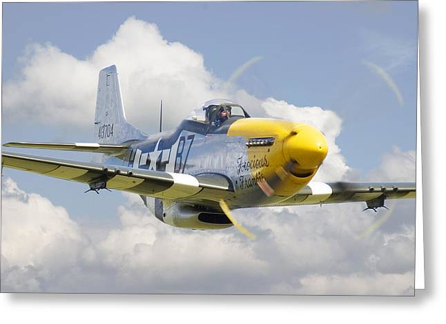 Military Aircraft Greeting Cards - P51 Ferocious Frankie Greeting Card by Pat Speirs