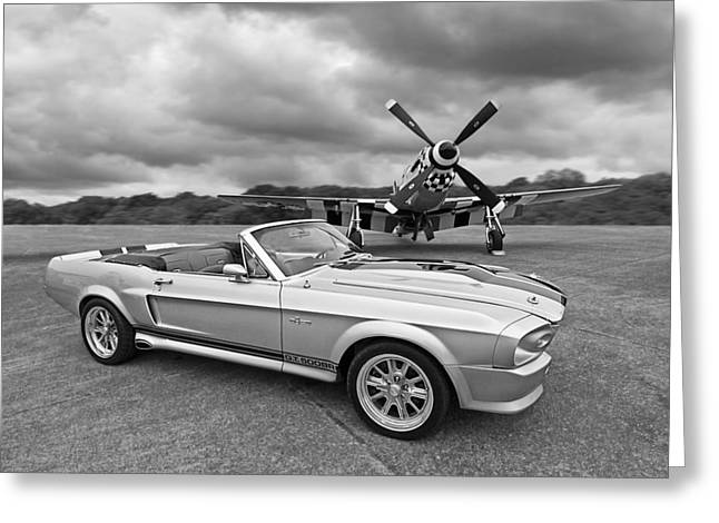 P51 Photographs Greeting Cards - P51 Meets Eleanor in Black and White Greeting Card by Gill Billington