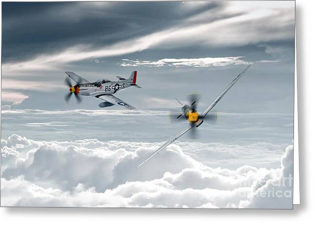 Usaac Greeting Cards - P51 Mustang - Old Crow Greeting Card by J Biggadike