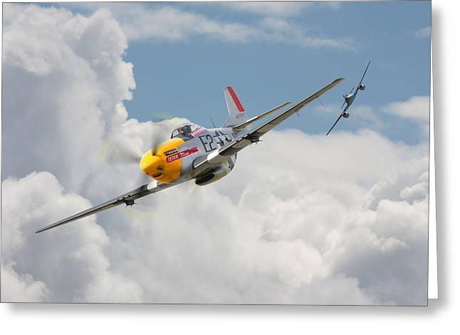 Me262 Greeting Cards - P51 Mustang and Me 262 Greeting Card by Pat Speirs