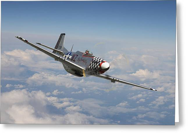 Clouds Scape Greeting Cards - P51 Mustang - Big Beautiful Doll Greeting Card by Pat Speirs