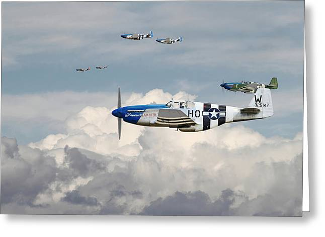 D Day Greeting Cards - P51 Mustang - Blue Noses - 352nd FG Greeting Card by Pat Speirs