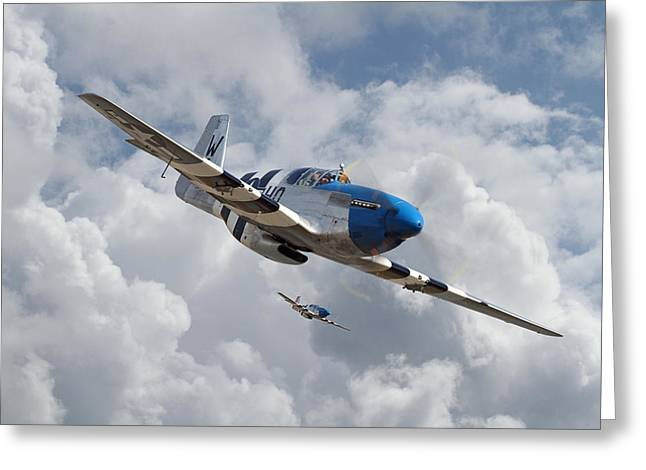 Clouds Scape Greeting Cards - P51 Mustang - D-Day Top Cover Greeting Card by Pat Speirs