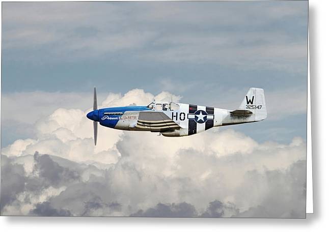 Clouds Scape Greeting Cards - P51 Mustang Gallery - No2 Greeting Card by Pat Speirs