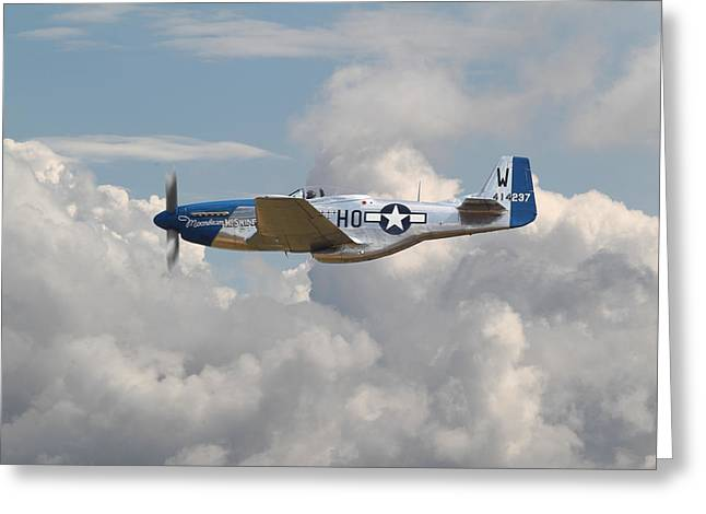 Clouds Scape Greeting Cards - P51 Mustang Gallery - No3 Greeting Card by Pat Speirs