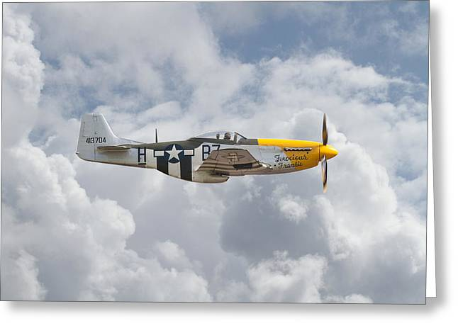 Clouds Scape Greeting Cards - P51 Mustang Gallery - No5 Greeting Card by Pat Speirs
