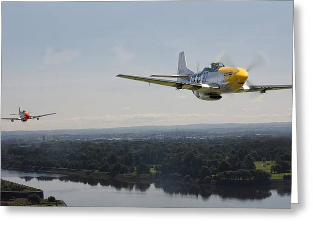 Fighter Aircraft Greeting Cards - P51 Mustang - Rail Strike Greeting Card by Pat Speirs