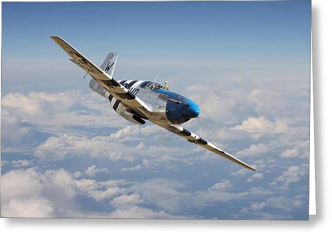 Fighter Aircraft Greeting Cards - P51 Mustang - Symphony in Blue Greeting Card by Pat Speirs