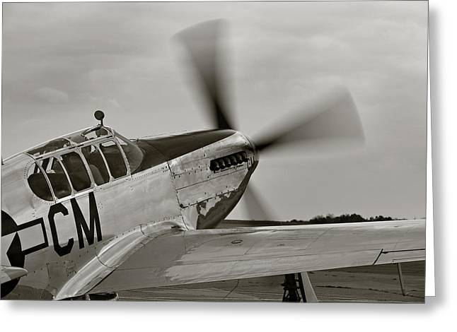 Mac K Miller Greeting Cards - P51 Mustang Takeoff Ready Greeting Card by M K  Miller