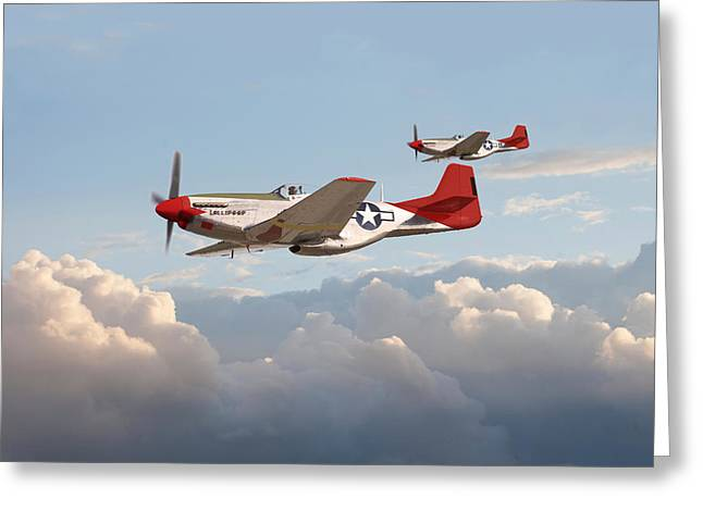 World War 2 Airmen Greeting Cards - P51 Mustangs - Red Tails Greeting Card by Pat Speirs