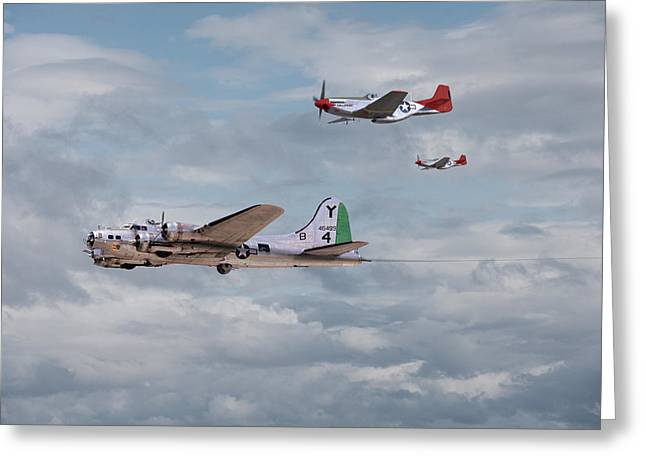 World War 2 Airmen Greeting Cards - P51 Red Tails - Bringing them Home Greeting Card by Pat Speirs