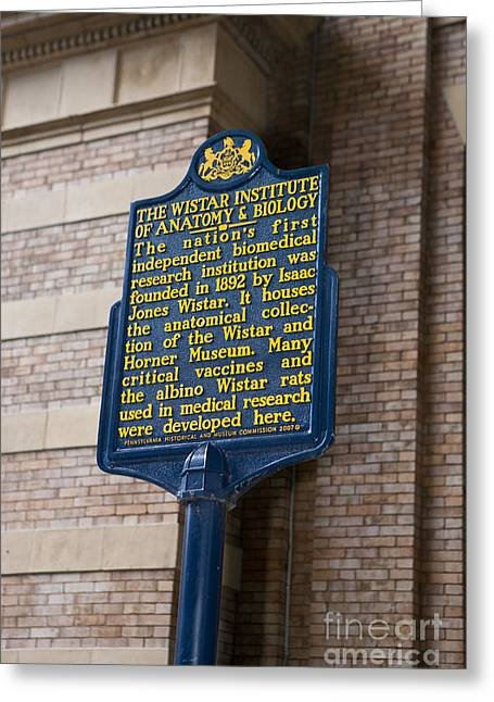 Philadelphia Tourist Site Greeting Cards - PA-129 The Wistar Institute of Anatomy and Biology Greeting Card by Jason O Watson