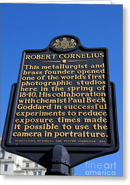 Philadelphia Tourist Site Greeting Cards - PA-134 Robert Cornelius Greeting Card by Jason O Watson