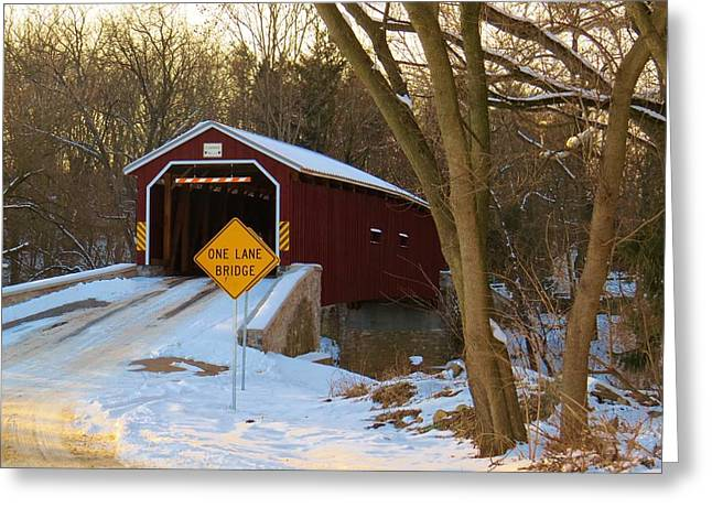 Covered Bridge Greeting Cards - PA covered bridge Greeting Card by Jeanette Oberholtzer