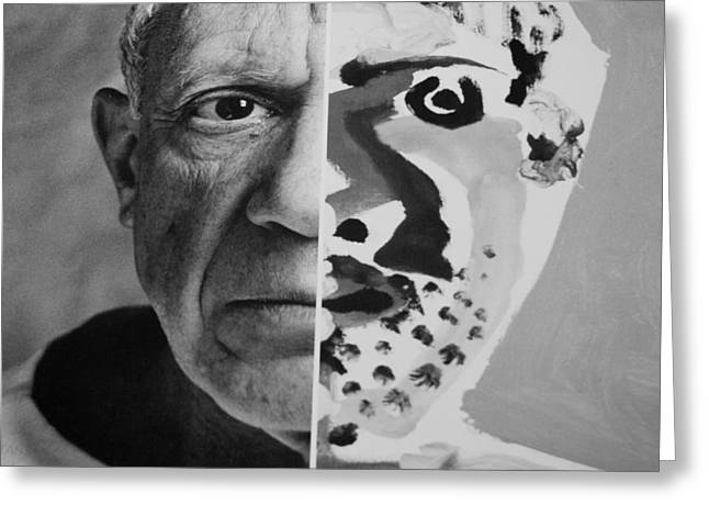 Pablo Picasso Digital Art Greeting Cards - Pablo Black And White Greeting Card by Rob Hans