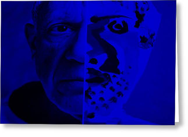 Pablo Picasso Digital Art Greeting Cards - Pablo Blue Greeting Card by Rob Hans