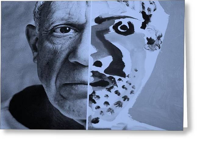 Pablo Picasso Digital Art Greeting Cards - Pablo Cyan Greeting Card by Rob Hans