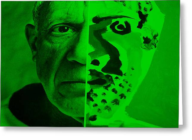 Pablo Picasso Digital Art Greeting Cards - Pablo Green Greeting Card by Rob Hans