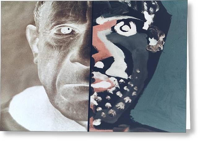 Pablo Picasso Digital Art Greeting Cards - Pablo Negative Greeting Card by Rob Hans