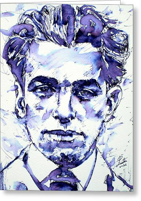 Pablo Paintings Greeting Cards - Pablo Neruda  Greeting Card by Fabrizio Cassetta