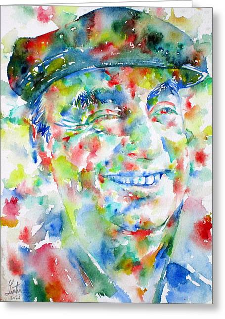 Pablo Paintings Greeting Cards - PABLO NERUDA - watercolor portrait.1 Greeting Card by Fabrizio Cassetta