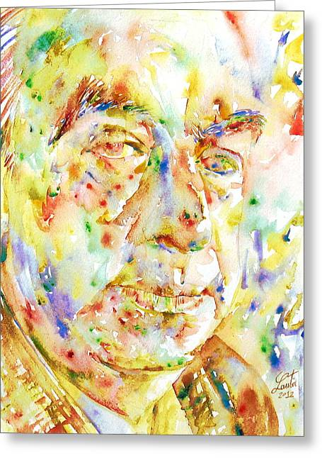 Pablo Paintings Greeting Cards - PABLO NERUDA - watercolor portrait.3 Greeting Card by Fabrizio Cassetta