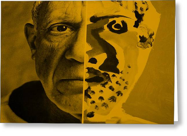Pablo Picasso Digital Art Greeting Cards - Pablo Orange Greeting Card by Rob Hans