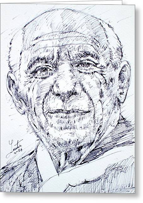 Pablo Picasso Drawings Greeting Cards - PABLO PICASSO - drawing portrait Greeting Card by Fabrizio Cassetta