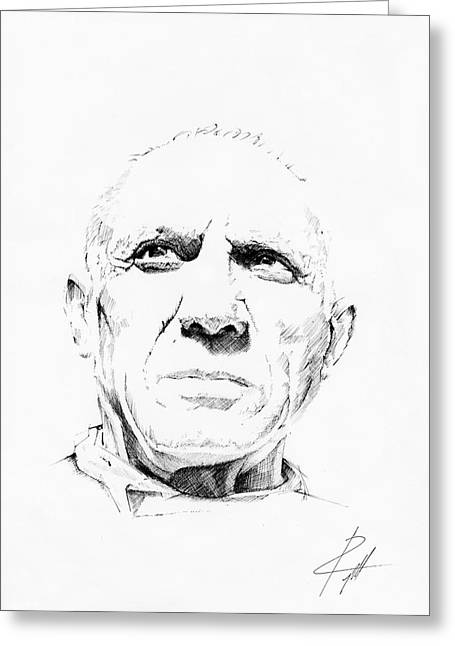 Pablo Picasso Drawings Greeting Cards - Pablo Picasso Greeting Card by  Gerald Piggott