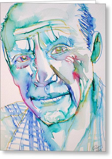 Pablo Greeting Cards - PABLO PICASSO- portrait Greeting Card by Fabrizio Cassetta