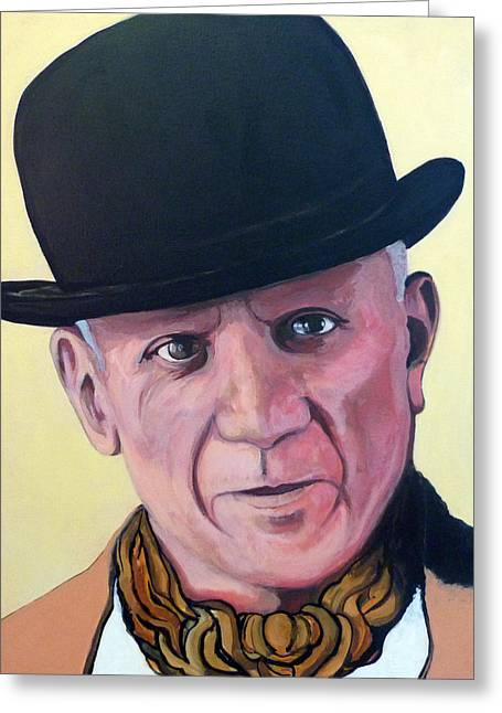 Celebrity Portrait Greeting Cards - Pablo Picasso Greeting Card by Tom Roderick