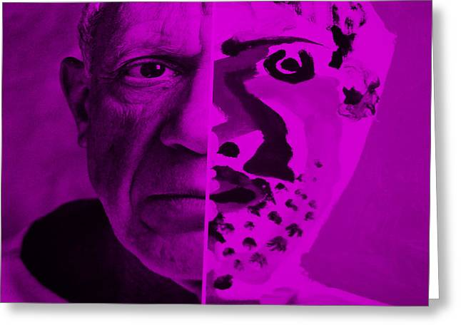 Pablo Picasso Digital Art Greeting Cards - Pablo Purple Greeting Card by Rob Hans