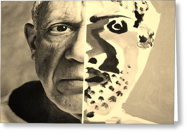 Pablo Picasso Digital Art Greeting Cards - Pablo Sepia Greeting Card by Rob Hans