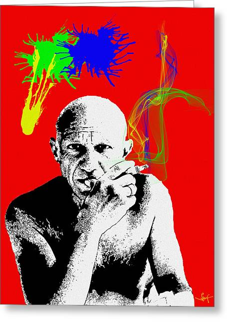 Pablo Mixed Media Greeting Cards - Pablo Smoking Art  Greeting Card by Sir Josef  Putsche