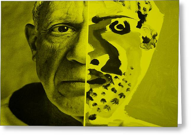 Pablo Picasso Digital Art Greeting Cards - Pablo Yellow Greeting Card by Rob Hans