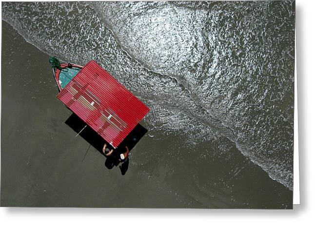 Kite Greeting Cards - Pablos Red Boat from Overhead Greeting Card by Rob Huntley