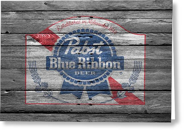 Ribbons Greeting Cards - Pabst Blue Ribbon Beer Greeting Card by Joe Hamilton