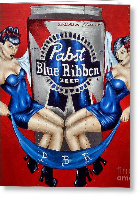 Recently Sold -  - Abstractions Greeting Cards - Pabst Blue Ribbon Beer Greeting Card by Lauren Hunter