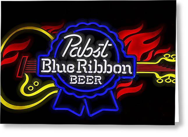 New Melle Greeting Cards - Pabst Blue Ribbon Sign Greeting Card by Linda Tiepelman