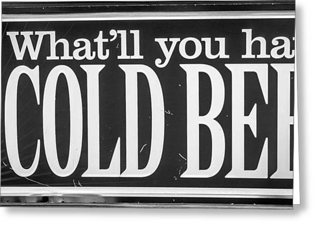 Liberal Greeting Cards - Pabst Cold Beer Sign Key West - Black and White Greeting Card by Ian Monk