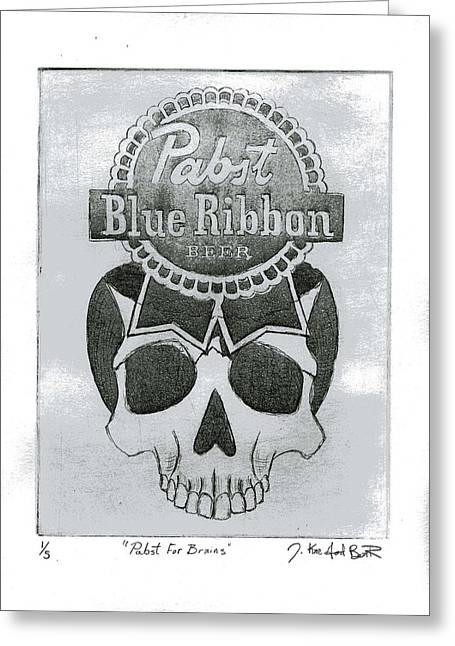 Pbr Greeting Cards - Pabst For Brains Greeting Card by J Kae