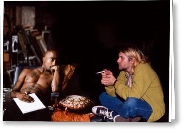 Rock And Roll Heaven Greeting Cards - Pac and Kurt  Greeting Card by J S