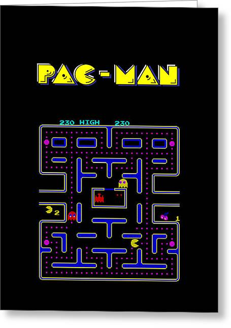 Pac Man Greeting Cards - Pac Man Phone Case Greeting Card by Mark Rogan