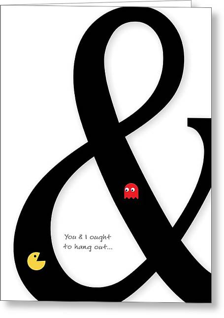 Blinky Greeting Cards - Ampersand Typography Greeting Card by Helena Kay