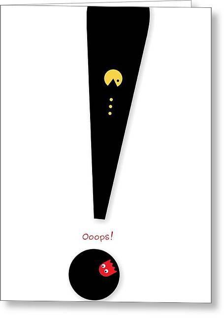 Blinky Greeting Cards - Exclamation Mark Typography Greeting Card by Helena Kay