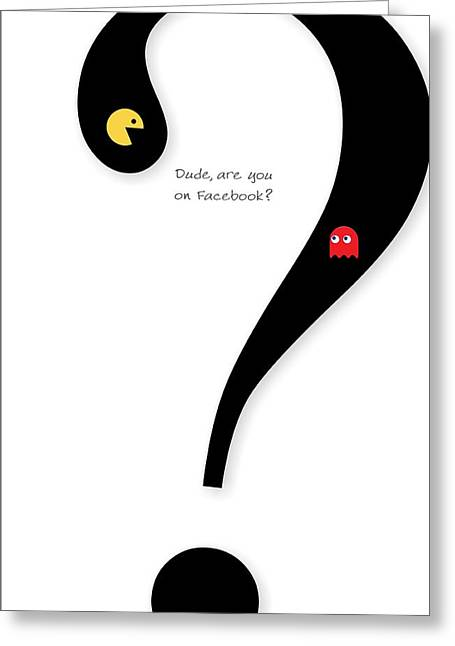Blinky Greeting Cards - Question Mark Typography Greeting Card by Helena Kay
